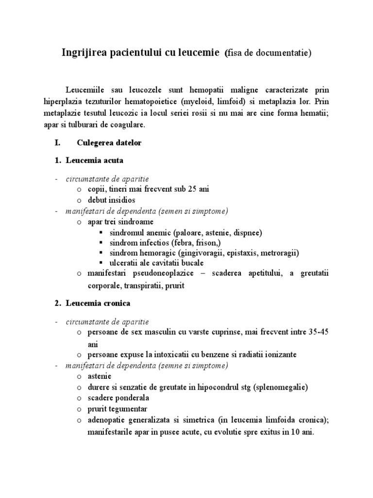 Leucemia-Simptome si factori de risc